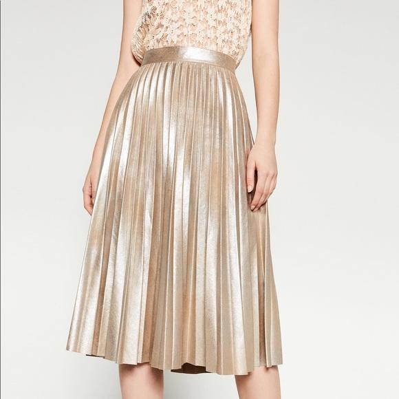 choose best professional design big selection of 2019 Zara metallic skirt pleated - champagne gold!